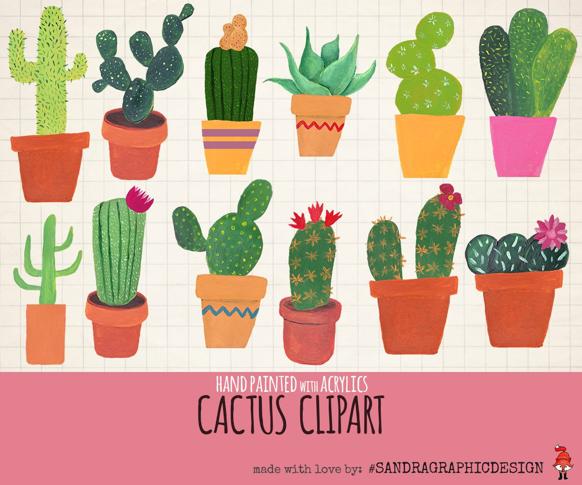 Cactus clip art hand painted ~ Illustrations ~ Creative Market