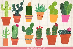 Cactus clip art hand painted