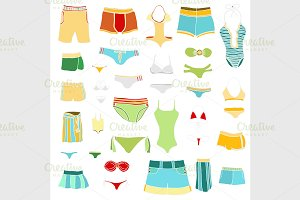 summer clothing icons.