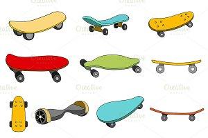 Set of colorful skateboards.