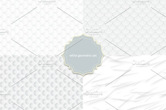 4 seamless white geometric pattern