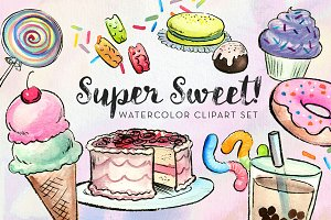 Super Sweet! Watercolor Clipart Set