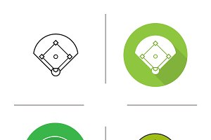 Baseball field icons. Vector