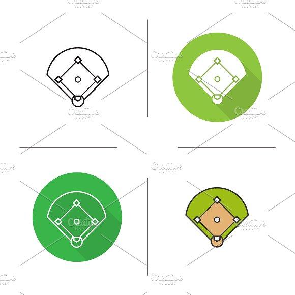 Baseball field icons. Vector - Icons