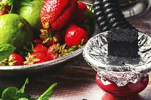 Hookah with strawberry tobacco