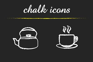 Tea and coffee icons. Vector
