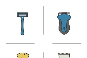 Shaving accessories icons. Vector