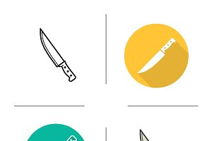 Chef's knife icons. Vector