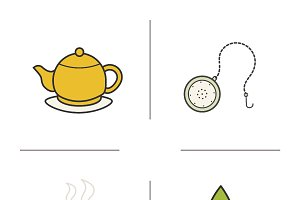 Tea color icons. Vector