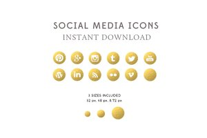 Gold Foil Social Media Icons PNG