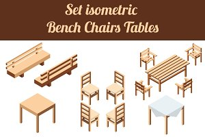 Set isometric chairs and tables