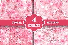 Pink Floral Seamless Patterns Set