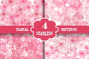 Pink Floral Seamless Patterns Set