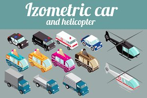 Set isometric car, helicopter
