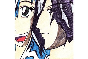 Anime manga cartoon pair boy & girl