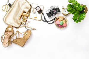 Bag, shoes, vintage photo camera
