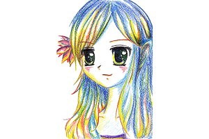 Colorful anime manga cartoon girl