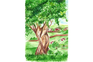 Watercolor big tree landscape