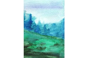 Watercolor forest wood landscape