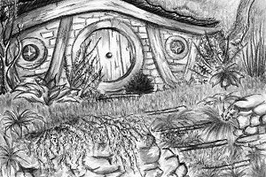 Watercolor monochrome hobbit home