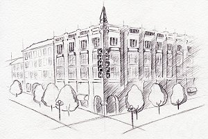 Monochrome building sketched art