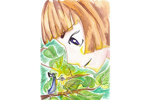 Watercolor little boy and cricket