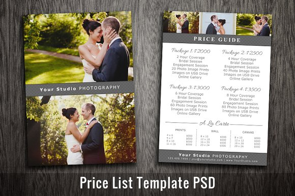 Wedding Price List Template PSD Card Templates Creative Market
