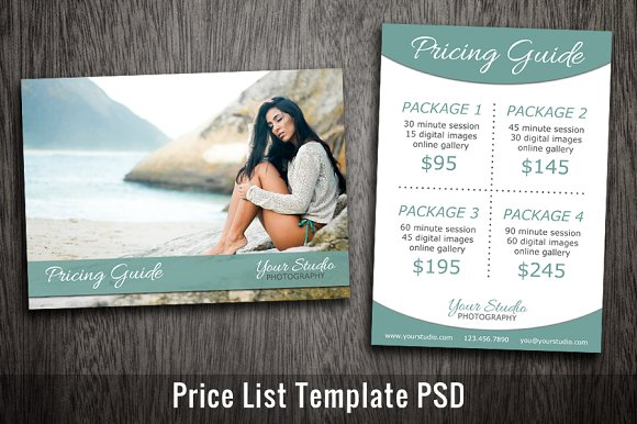 photography price list template psd