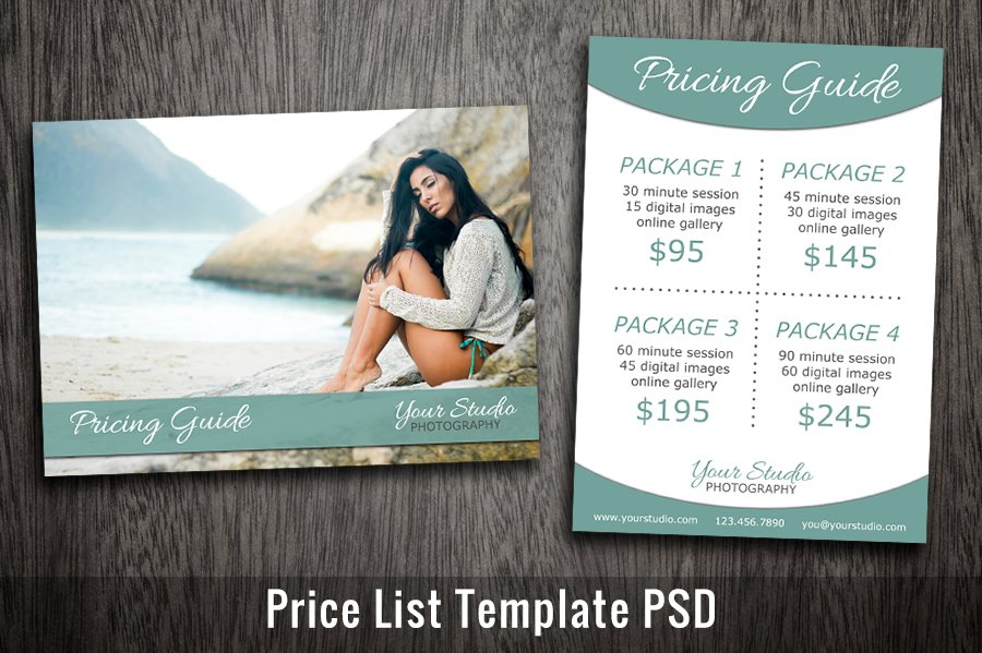 photography price list template psd flyer templates creative market