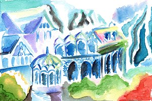 Watercolor colorful elven kingdom