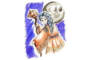 Watercolor little shaman girl