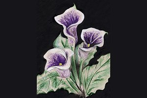 Watercolor flower calla bouquet