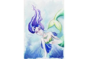 Watercolor mermaid siren under water