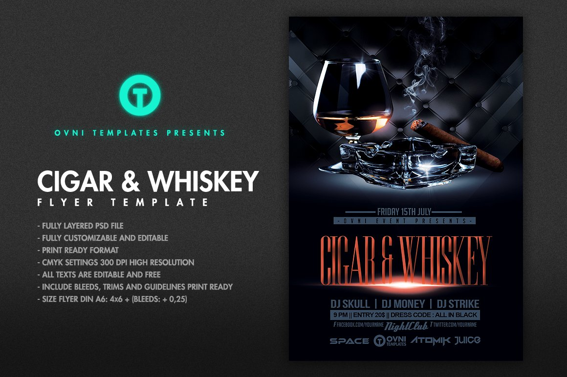 cigar whiskey flyer template flyer templates creative market