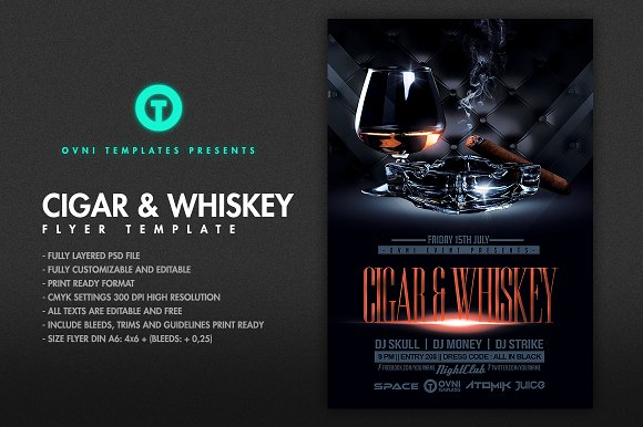 Cigar Whiskey Flyer Template Flyer Templates Creative Market