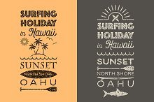 Surfing holiday in Hawaii emblems