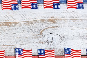 USA Flag Border on White Wood
