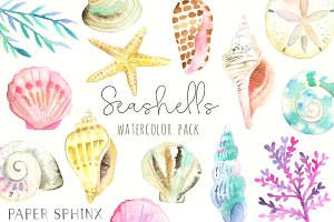 Ocean Seashells Watercolor Pack