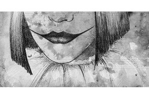 Watercolor monochrome mime sad clown