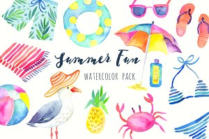Summer Beach Party Watercolor Pack
