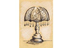 Vintage lamp sketch ink line art