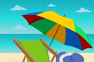 Beach umbrella, lounge chair, summer