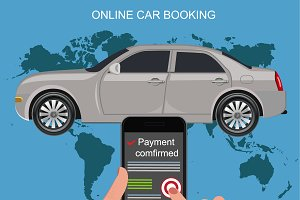 online car booking concept, vector