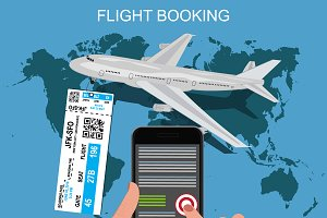 flight booking concept, vector