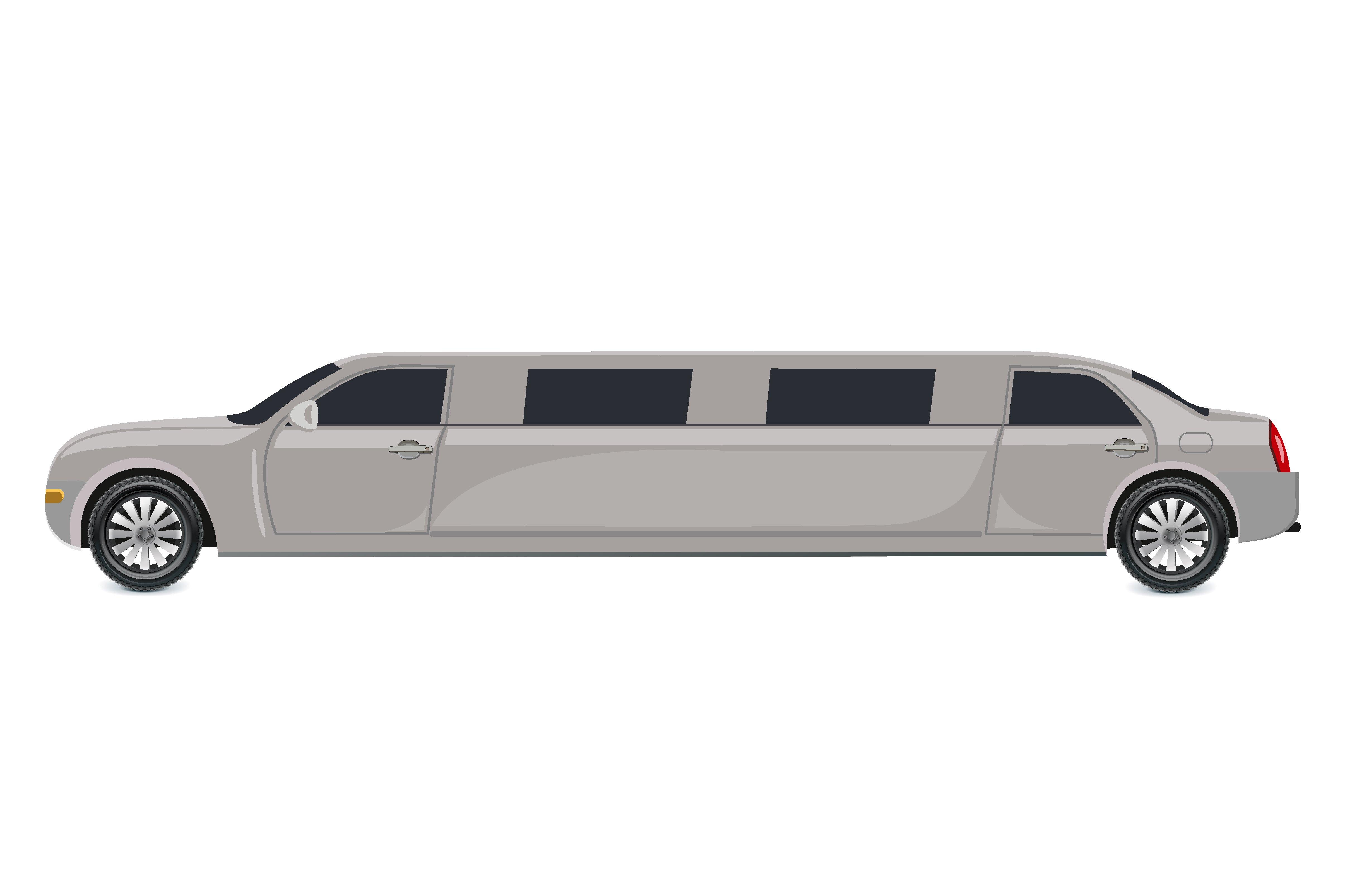 White Limousine Vector Illustration Illustrations