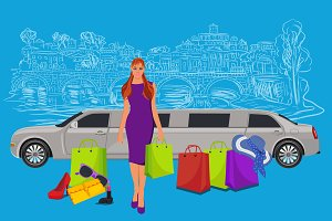 woman near limousine after shopping