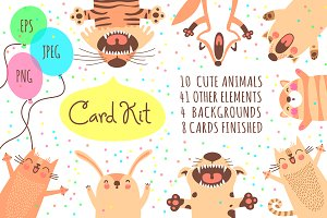 Card Kit with Cute Animals