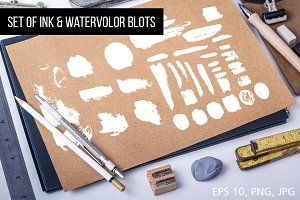 Set of Ink & Watercolor Blots