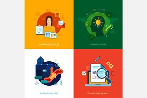 Flat icons set for human resources.