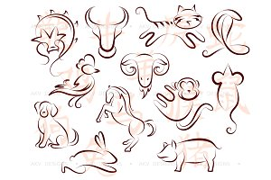 12 sketches for Chinese zodiac